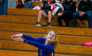 Nonnewaug's Abby Scheurich (3) gets under the ball as she keeps it in play during their Berkshire League match up with Northwestern Tuesday at Woodbury Middle School. Jim Shannon Republican-American