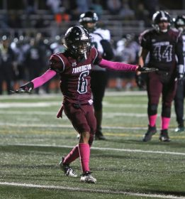 """Torrington High School's Isaiah Hammonds signals """"incomplete pass"""" in the endzone during the boys varsity football game in Torrington against Wilby High School on Friday, Oct. 25, 2019. Emily J. Tilley. Republican-American"""