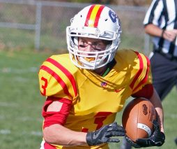 Gilbert / Northwestern's Chase Sanden rushes against Rockville during football action at Gilbert High School in Winsted on Saturday afternoon. Rockville defeated Gilbert / Northwestern.Michael Kabelka / Republican-American