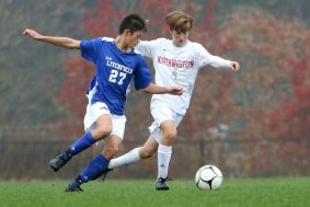 #27 Ethan Pang of Litchfield High and #4 Evan Wheeler of Northwestern battle fo the ball during soccer action in Litchfield Tuesday. Steven Valenti Republican-American