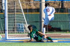 Torrington's Xavier Rodas (10), right, shoots on goal past the defense of Gennaro Genua (4) for a goal, during the quarterfinals of the Boys NVL Soccer Tournament between Torrington and Holy Cross at Municipal Stadium on Saturday. Bill Shettle Republican-American