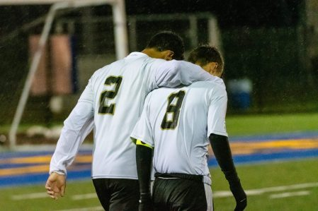 Woodland players Jason Claiborn (2) and Cole Barrows (8) walk off the field together after getting beat by Naugatuck 2-1, during the NVL Boys Soccer final between Naugatuck and Woodland at Municipal Stadium in Waterbury on Thursday. Bill Shettle Republican-American