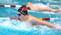 Pomperaug's Colin Martin took first place in the 100 Year Butterfly during their meet with Naugatuck Wednesday at Naugatuck High School. Jim Shannon Republican-American