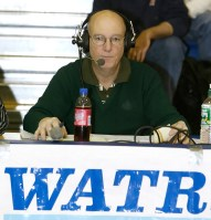 Gordie Woods, statistician and technical support for WATR sports broadcasts on the sidelines at the Division II state basketball championships Saturday afternoon. Jamison C. Bazinet Republican-American