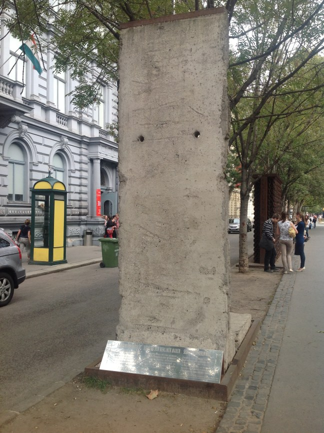 The Berlin Wall - a piece of the wall was donated to Budapest and setup in front of the House of Terror to symbolize the oppression and tyranny of the communist regime.