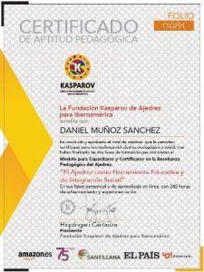 Certificado de la fundación kasparov de ajedrez