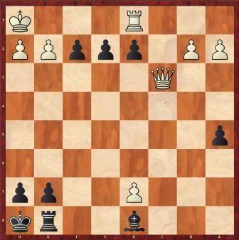 Posición en la que acabó la partida. Tres peones en la segunda fila de las negras...