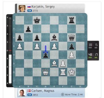 PARTIDA 5. Aquí Carlsen ya queda inferior.