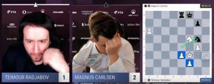 Carlsen se lamenta al final de la partida