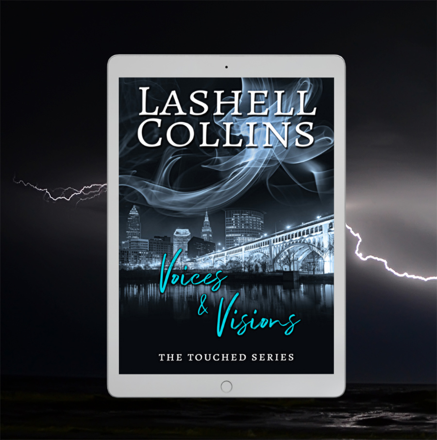 Cover to VOICES & VISIONS, the first book in the adult paranormal romantic suspense series, Touched, by Lashell Collins.