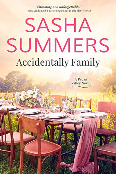 Cover to SUDDENLY FAMILY, the latest release in the adult contemporary romance series, Pecan Valley, by Sasha Summers, releasing May 26, 2020