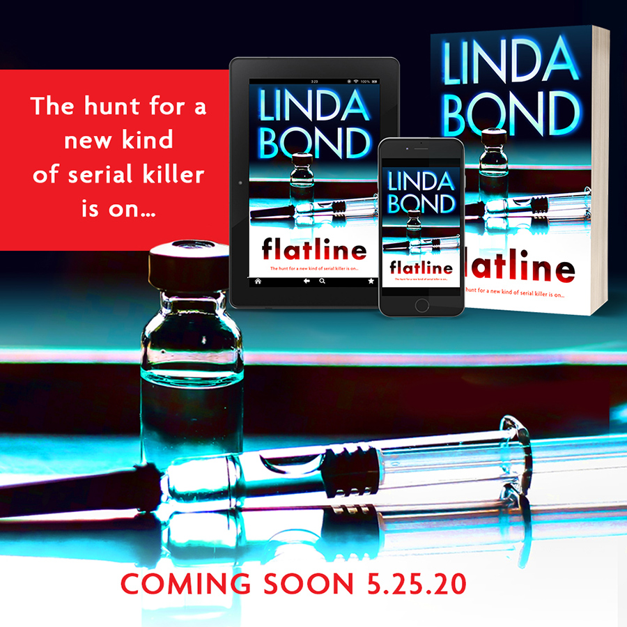 Preorder FLATLINE, the third book in the adult romantic suspense series, TheInvestigators, by Linda Bond, releasing May 25, 2020