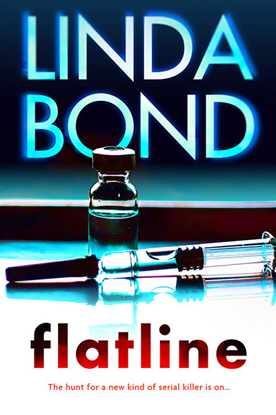 Cover to FLATLINE, the third book in the adult romantic suspense series, The Investigators, by Linda Bond, releasing May 25, 2020