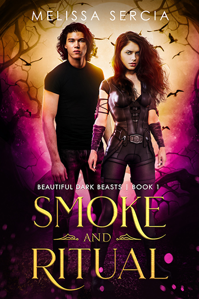 Cover for SMOKE AND RITUAL, the first book in the adult paranormal romance series, Beautiful Dark Beasts, by Melissa Sercia