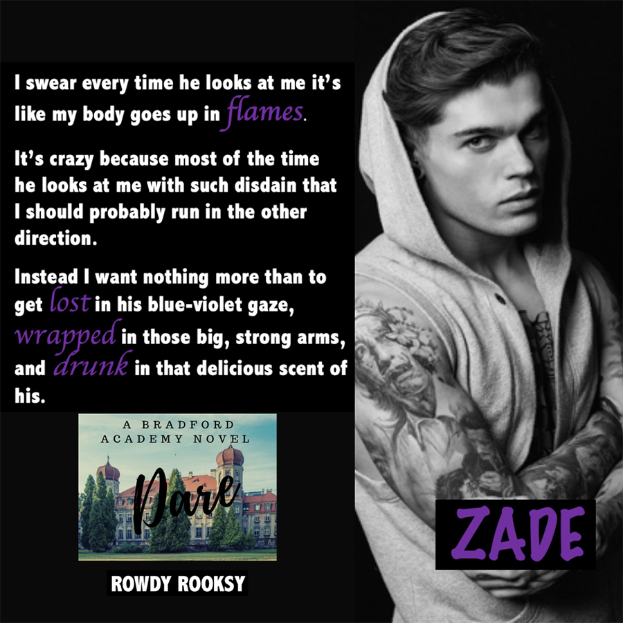 DARE, the first book in the young adult contemporary romance series, Bradford Academy, by Rowdy Rooksy
