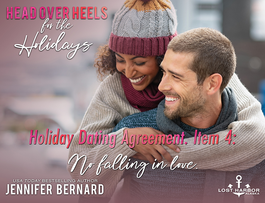 HEAD OVER HEELS FOR THE HOLIDAYS, the seventh book in the adult contemporary romance series, Lost Harbor, Alaska, by USA Todaybestselling author, Jennifer Bernard