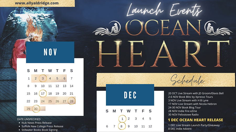OCEAN HEART, the first book in the young adult fantasy romance series, The Soul Heart, by Ally Aldridge, releasing December 1, 2020