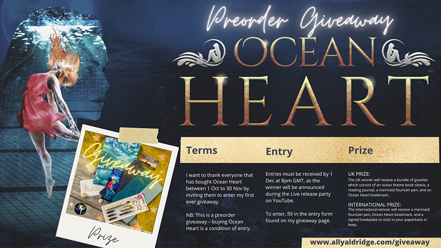 Be sure to enter Ally Aldridge's preorder giveaway for OCEAN HEART, coming December 1, 2020.