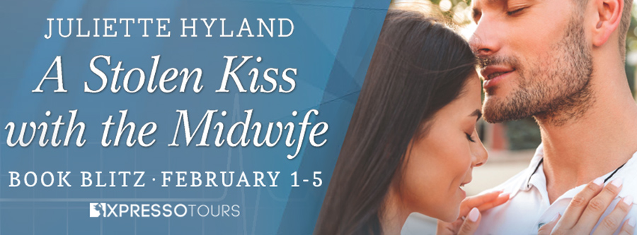 Welcome to the blog tour for A STOLEN KISS WITH THE MIDWIFE, the 1,157th book in the adult contemporary romance series, Harlequin Medical Romances, by Juliette Hyland