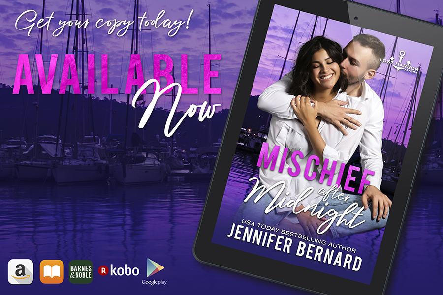 MISCHIEF AFTER MIDNIGHT, the ninth book in the adult contemporary romance series, Lost Harbor, Alaska, by USA Todaybestselling author, Jennifer Bernard is available now!