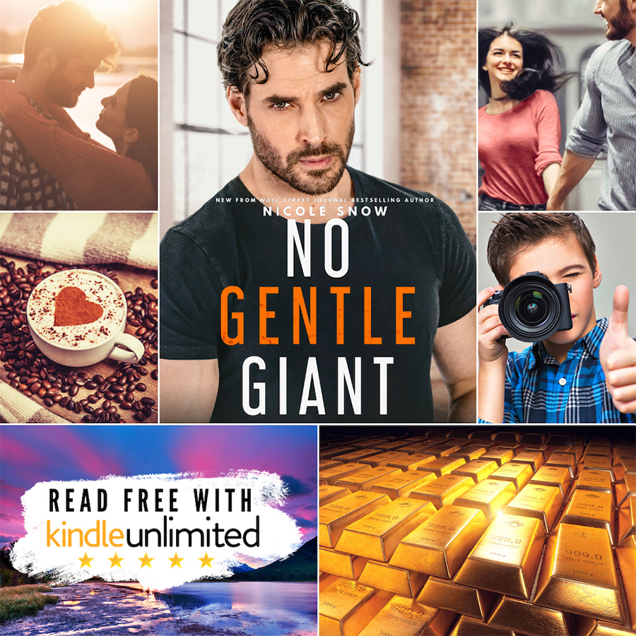 Mood Board for NO GENTLE GIANT, a standalone adult contemporary romance, by Wall Street Journaland USA Today bestselling authorNicole Snow
