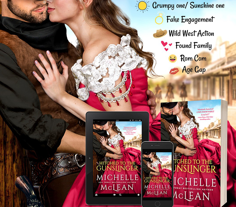 Teaser from HITCHED TO THE GUNSLINGER, a standalone adult historical romance, by USA Today bestselling author, Michelle McLean