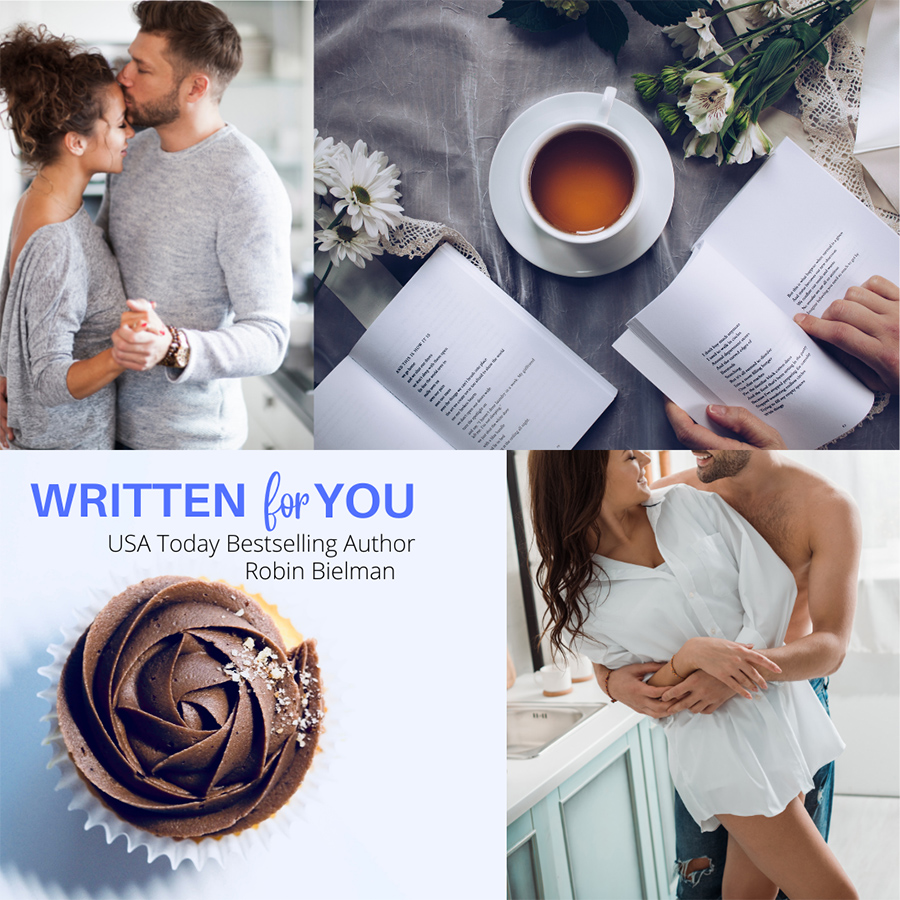 Mood Board from WRITTEN FOR YOU, a standalone adult romantic comedy, by USA Today bestselling author, Rachel Bielman