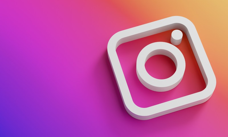 Instagram Logo Minimal Simple Design Template. Copy Space 3D