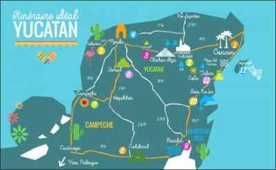 Carte / Map Péninsule du Yucatan