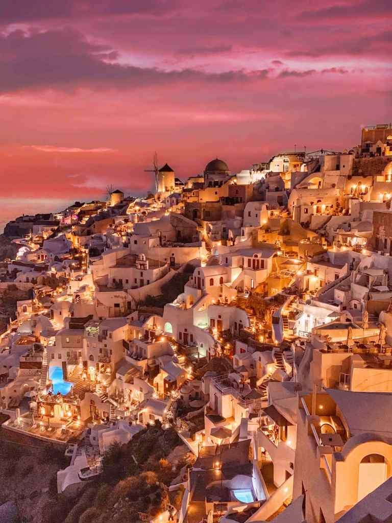 Greece - View in Santorini with amazing sunset Oïa