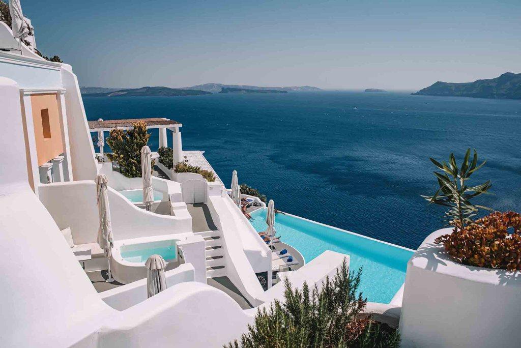 Katikies Santorini Hotel - Piscine avec vue mer Grèce