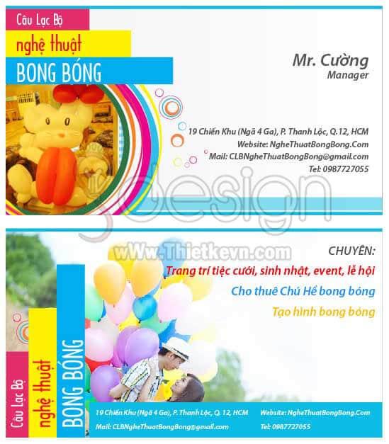 Thiết kế card visit CLB Nghệ Thuật Bong Bóng