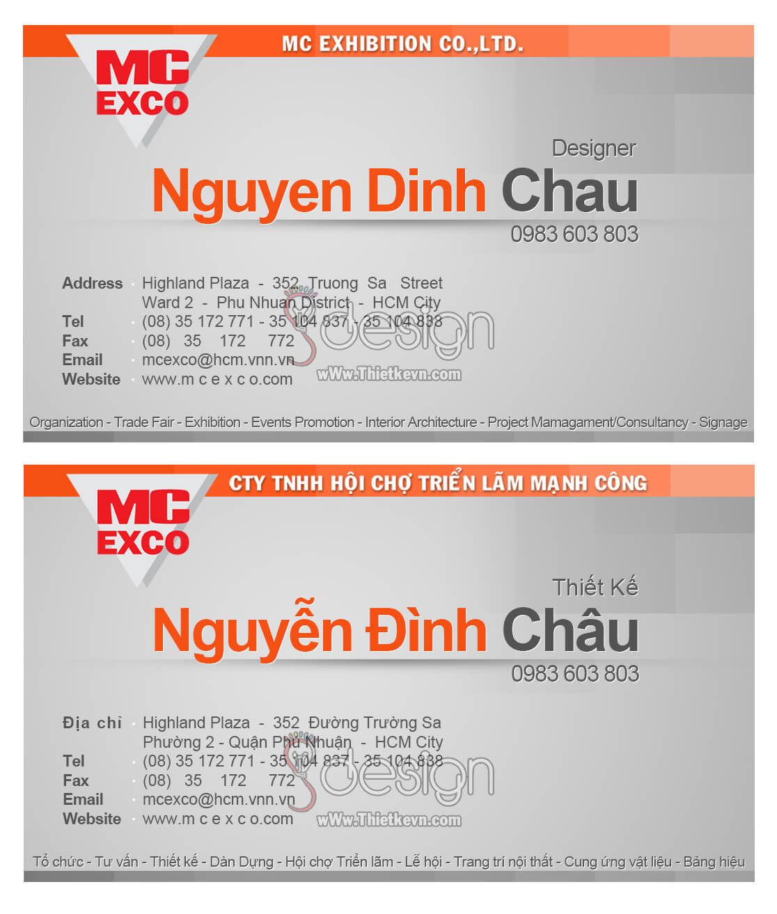 Thiết kế Name Card Công Ty MC