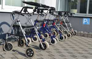 Rollators in a line