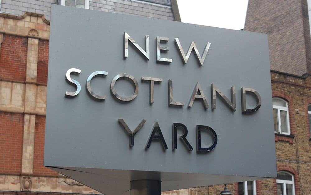 Scotland Yard sign for police and trading standards