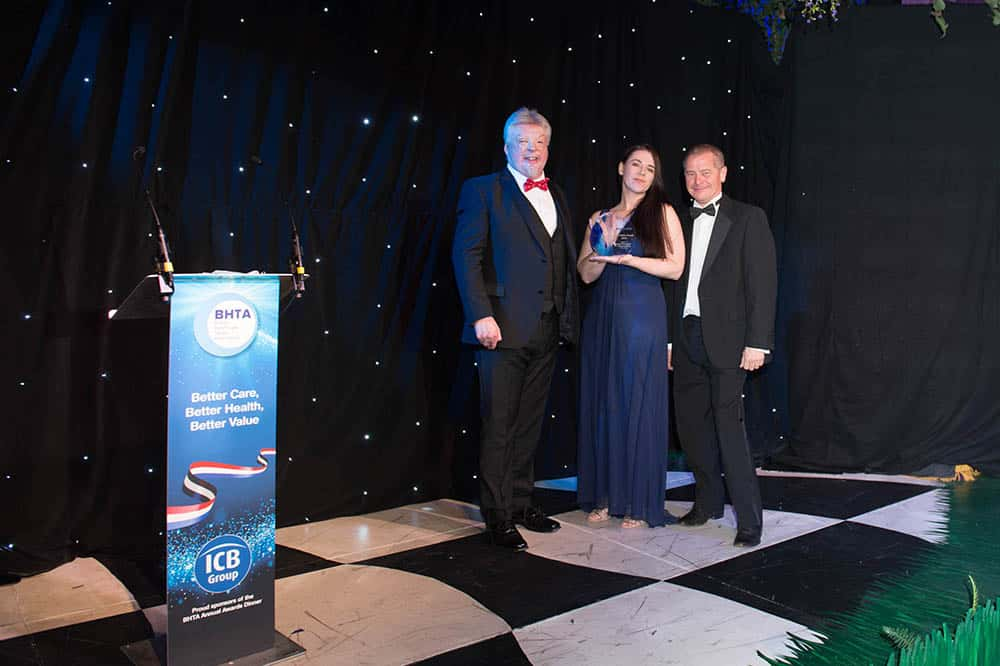 NFSUK Award accpeted at the BHTA Awards on behalf by Donna Eade