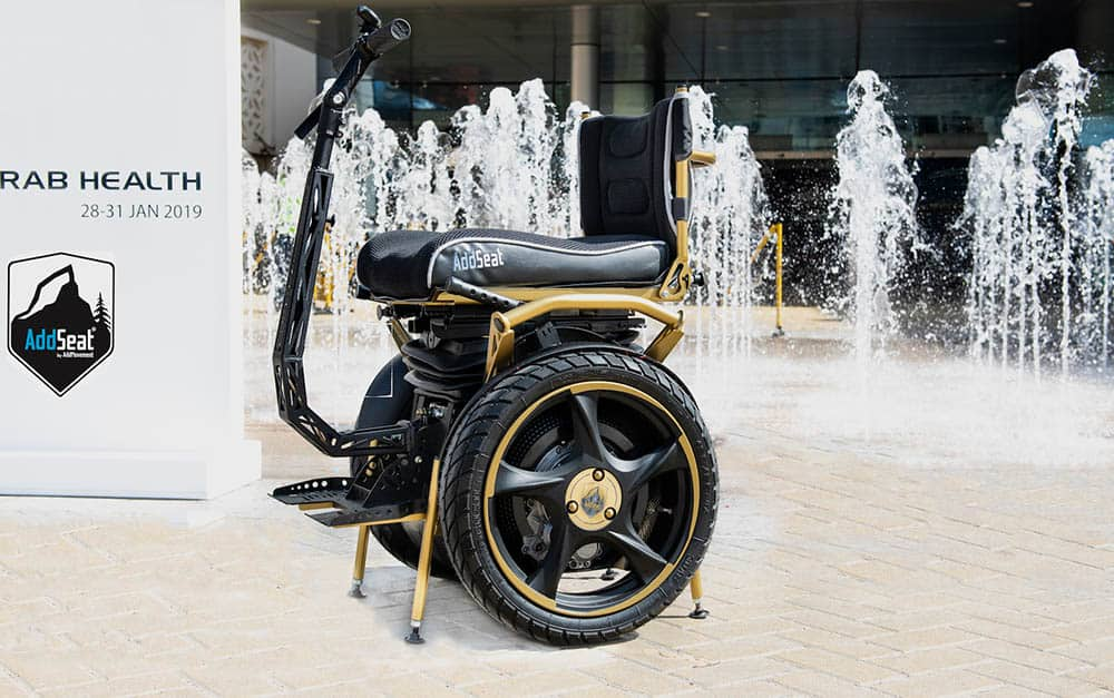 AddSeat by AddMovement by the water outside Arab Health
