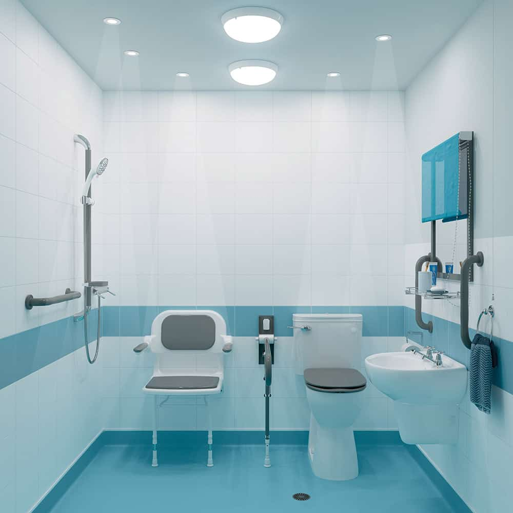 Accessible bathroom with AKW's task focused lighting image