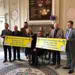Disability Awareness Day sponsors in Town Hall Warrington with Mayor and Warrington Disability Partnerships
