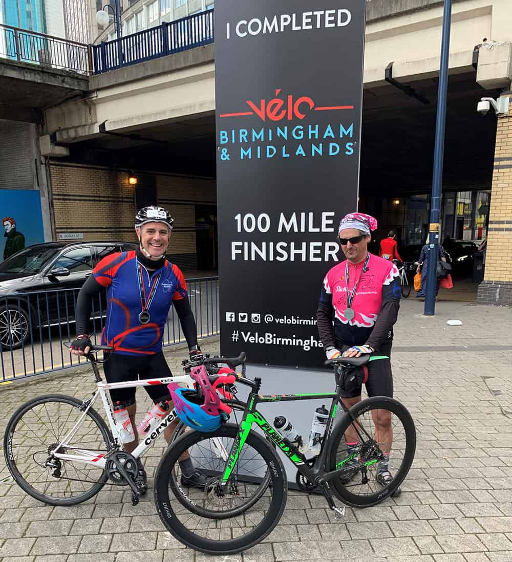Medequip's Matt Ward and David Whitaker after completing Velo Birmingham