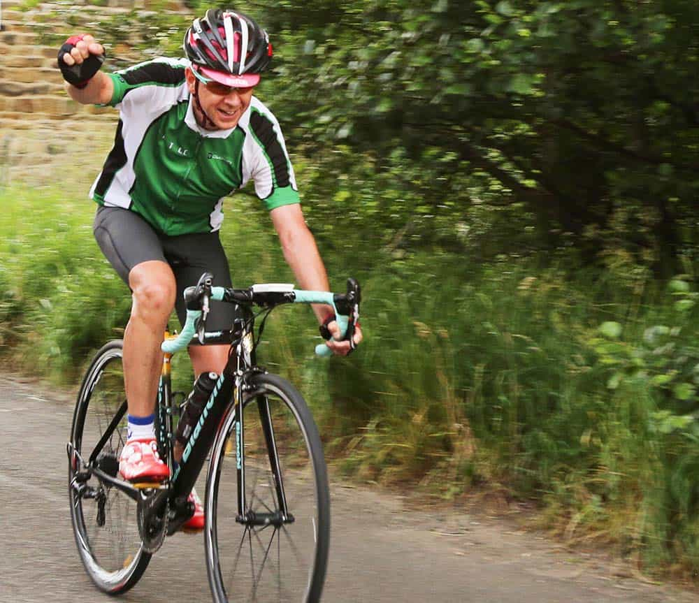 Etac R82 Mark Travers overcoming cycling challenge for Newlife