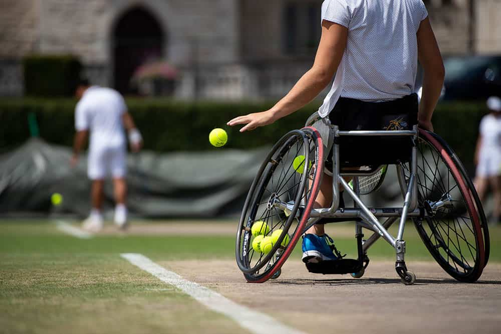 The WheelLadies Singles competitors practice at Southlands. The Championships 2018. Held at The All England Lawn Tennis Club, Wimbledon