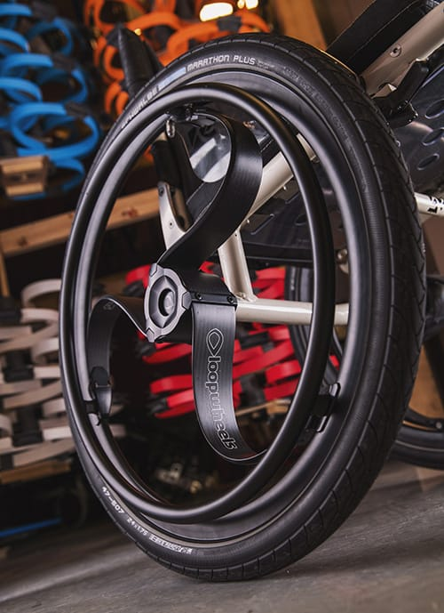 Loopwheel's carbon fibre wheelchair wheels at their manufacturing facilities in Boughton, Notts, 25 June 2019