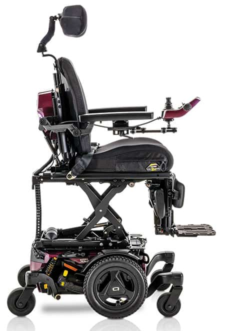 Quantum Stretto powechair side on view with iLevel in Sugar Plum