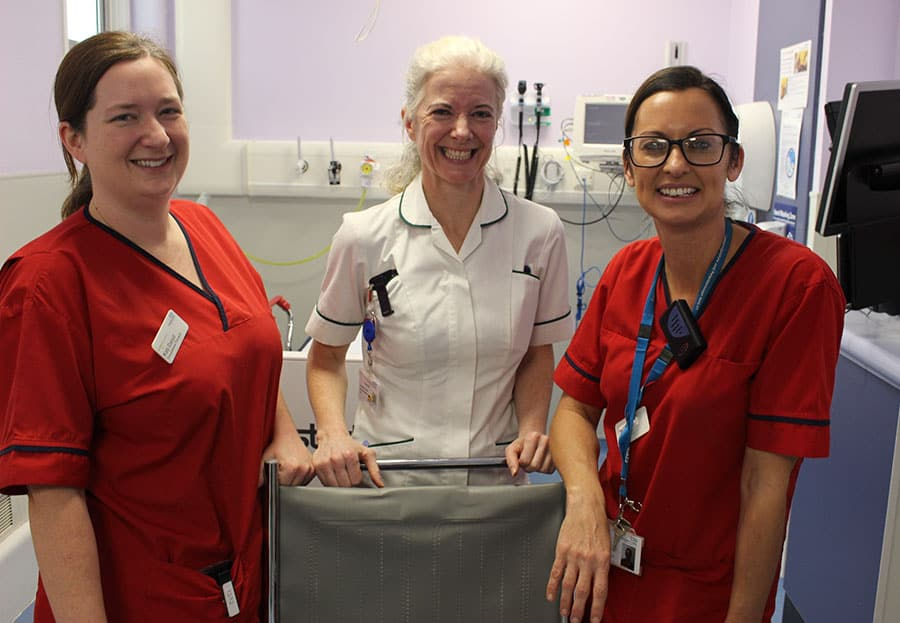 Ann Drea (centre) with OT Katy Daoud (left) and Nicola Tatham, Clinical Lead (right)