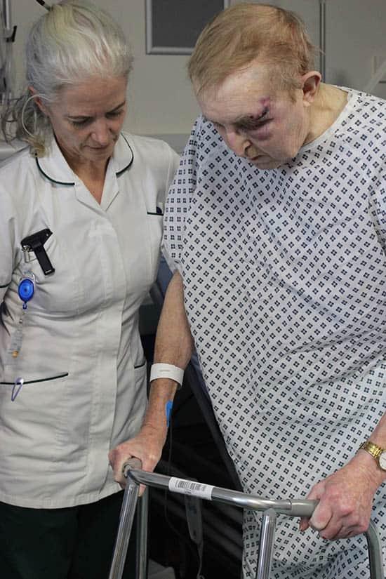 Ann Drea with falls patient