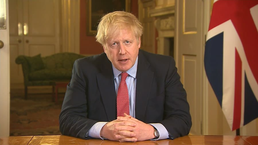 Boris Johnson addressing the nation