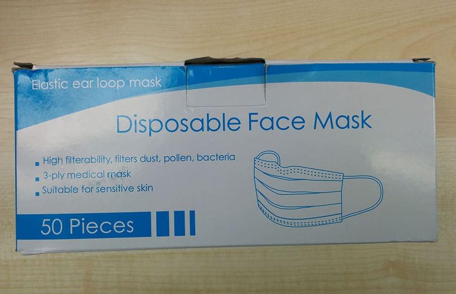 seized face masks box