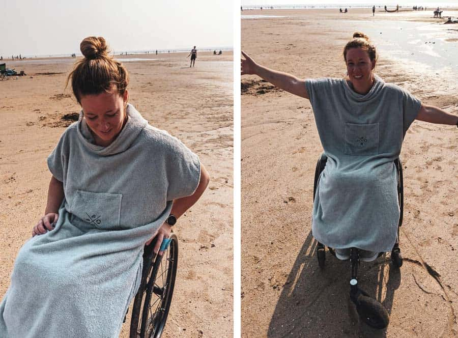 MOXSE WAVES wheelchair adapted towel in use