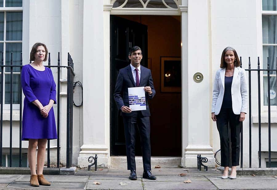 From left: Carolyn Fairbairn of the CBI, Chancellor Rishi Sunak and Frances O'Grady of the TUC [Credit: PA Media]
